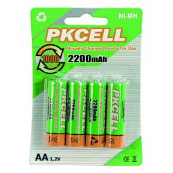 4x 2200mAh AA Oplaadbare Batterijen Penlite.