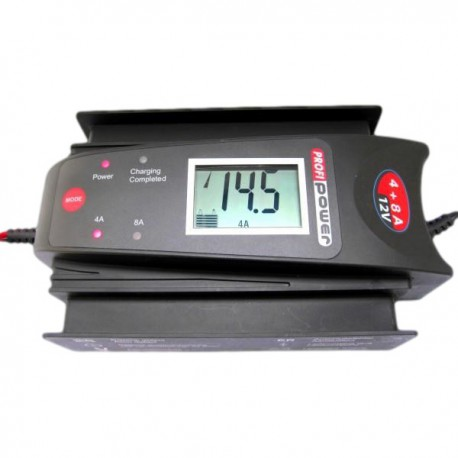 Luxe 12V Acculader LCD Display 4+8 Amp.